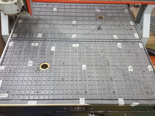 CNC router table top with a 2 zone vacuum hold down