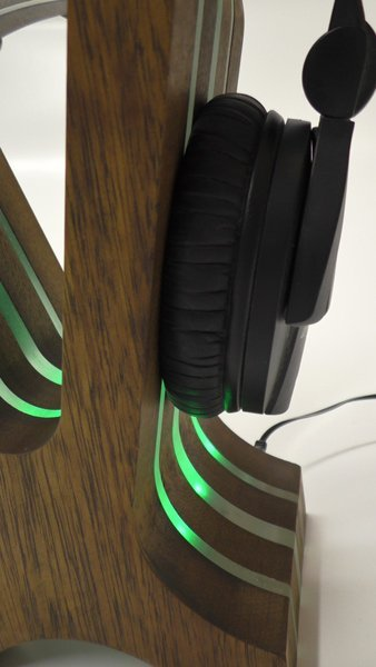 RGB LED Hardwood headphone Stand