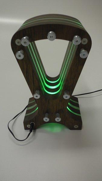 RGB LED Hardwood headphone Stand