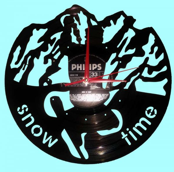 snow boarder vinly wall clock